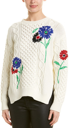 RED Valentino Embroidered Wool-Blend Sweater