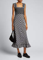 Ganni Seersucker Check Sleeveless Midi Dress