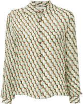 Caramel geometric print shirt
