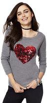 "New York & Co. Sequin Heart ""Joy"" Tie-Back Sweater"