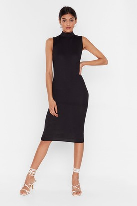 Nasty Gal Womens High Hopes Ribbed Midi Dress - Black - 4