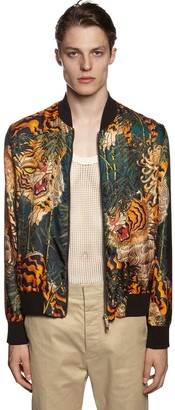 DSQUARED2 Tiger Bamboo Silk Twill Bomber Jacket