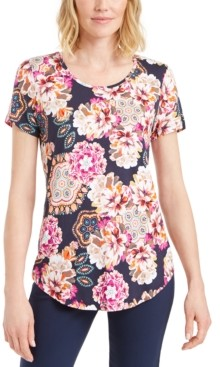 JM Collection Floral-Print Scoop-Neck T-Shirt, Created for Macy's