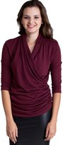 Clothes Effect Ladies Ruched Side V-Neck Wrap 3/4 Sleeve Top