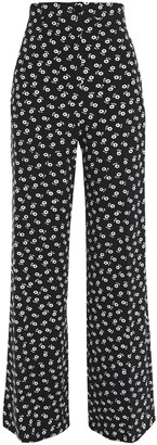 ALEXACHUNG Pleated Floral-print Crepe Wide-leg Pants