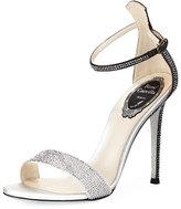 Rene Caovilla 105mm Crystal-Studded Satin Platform Sandal