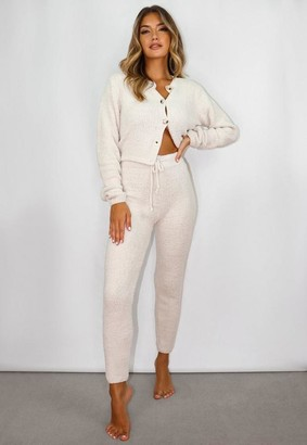 Missguided Cream Co Ord Soft Touch Knit Joggers