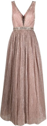 Jenny Packham Plisse Sequin Gown