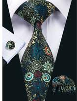 Hi Tie Hi-Tie New Fashion Floral Necktie Set with Hanky Cufflinks