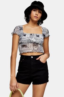 Topshop Premium Black Denim Mom Shorts