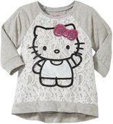 Hello Kitty Lace Over Jersey Top (Toddler/Kid) - Heather Gray - 4T