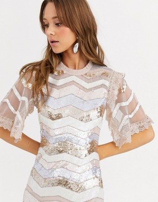Needle & Thread sequin embellished zig zag midi dress with lace sleeves in multi