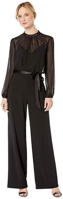 Adrianna Papell Knit Crepe and Chiffon Jumpsuit (Black) Women's Jumpsuit & Rompers One Piece
