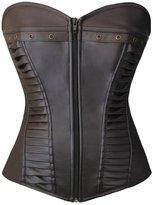 Lotsyle Women Faux Leather Lace Up Zipper Body Shaper Shapewear Overbust Corset -L