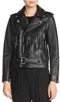 Maje Bring Fringe-Trim Leather Jacket