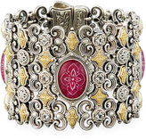 Konstantino Ornate Ruby, Quartz & Topaz Statement Link Bracelet