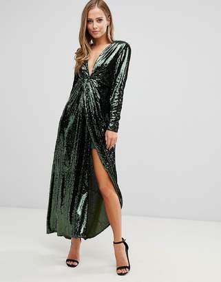 Asos Edition EDITION plunge asymmetric maxi dress in sequin-Green
