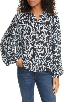 Veronica Beard Ashlynn Graphic Silk Blend Blouse