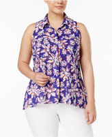 NY Collection Plus Size Utility Blouse
