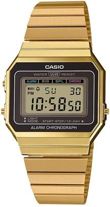 Casio Retro Black Digital Dial Gold Stainless Steel Bracelet Watch