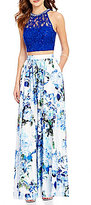 Xtraordinary Beaded High Neck Sequin Lace Bodice Floral Skirt Two-Piece Long Dress