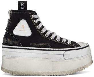 R 13 Black Platform High-Top Sneakers
