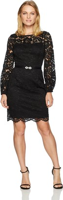 Ellen Tracy Women's Lace Dress with Bell Sleeves-Petite