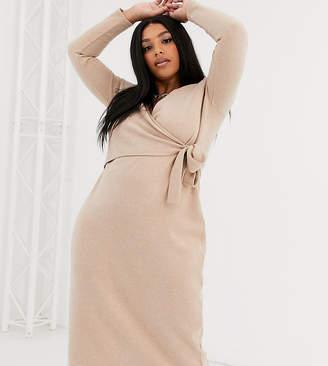 Asos DESIGN Curve super soft v front tie midi dress in camel-Beige