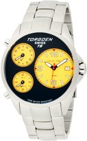 Torgoen Swiss Men's T08202 Triple Time Zone Yellow Stainless Steel Watch
