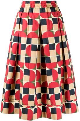 Fay Geometric Print Midi Skirt