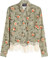 The Kooples Printed Silk Blouse with Lace