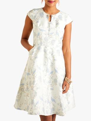 Yumi Oriental Jacquard Occasion Dress, Blue