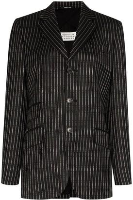Maison Margiela logo pinstripe blazer