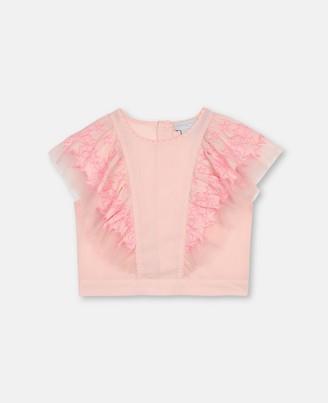 Stella Mccartney Kids Stella McCartney stars embroidery cotton crop top
