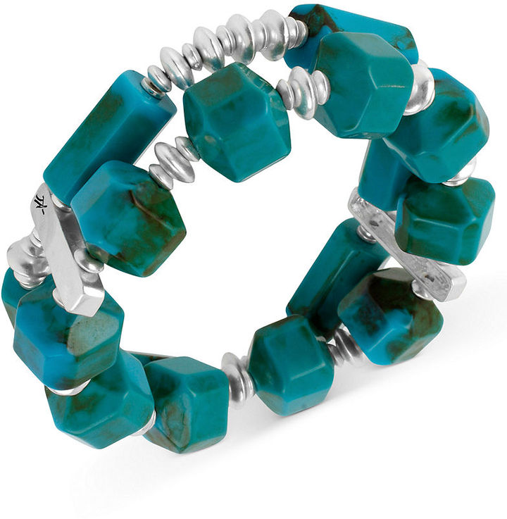 Kenneth Cole New York Bracelet, Silver-Tone Turquoise Geometric Bead Two-Row Stretch Bracelet