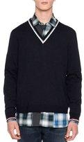 Lanvin Open-Stitch Striped V-Neck Sweater