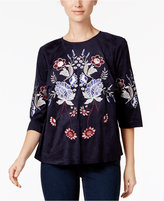 Charter Club Embroidered Faux-Suede Top, Created for Macy's