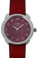 Hermes 41mm Arceau Alligator Strap Watch with Diamonds