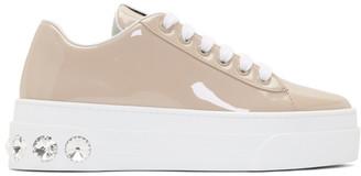 Miu Miu Brown Patent Crystal Platform Sneakers
