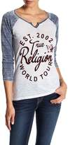 True Religion Flocked Script Henley Tee