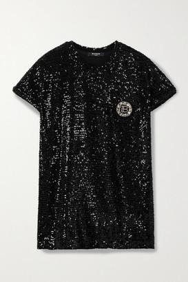 Balmain Embellished Sequined Jersey T-shirt - Black