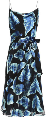 Alice + Olivia Heather Belted Printed Burnout Chiffon Dress