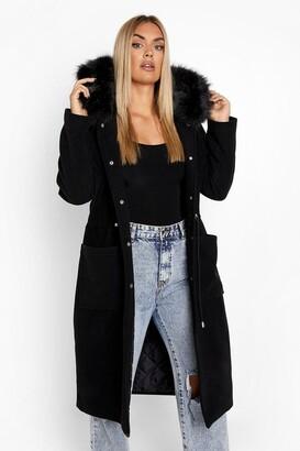 boohoo Plus Faux Fur Hood Wool Look Coat