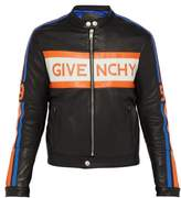 Givenchy - Logo Applique Leather Biker Jacket - Mens - Black Orange