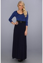 Calvin Klein Rayon Maxi w/Stripe Top and Solid Skirt (Twilight/Electric Blue) - Apparel