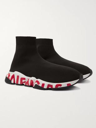 Balenciaga Speed Sock Logo-Print Stretch-Knit Slip-On Sneakers