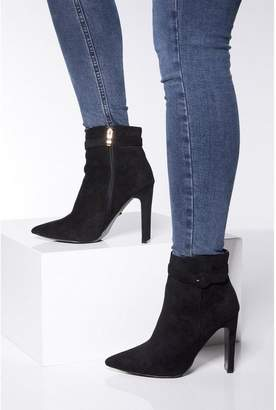 Quiz Black Faux Suede Skinny Heel Ankle Boots