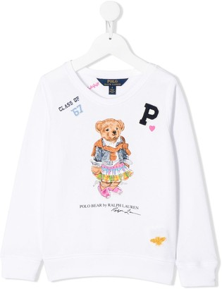 Ralph Lauren Kids Madras bear-print sweatshirt