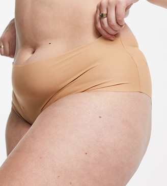 ASOS DESIGN Curve Tiggy smoothing seamfree high-waist knicker in microfibre in beige