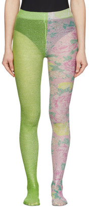 Marc Jacobs Green The Left and Right Print Tights
